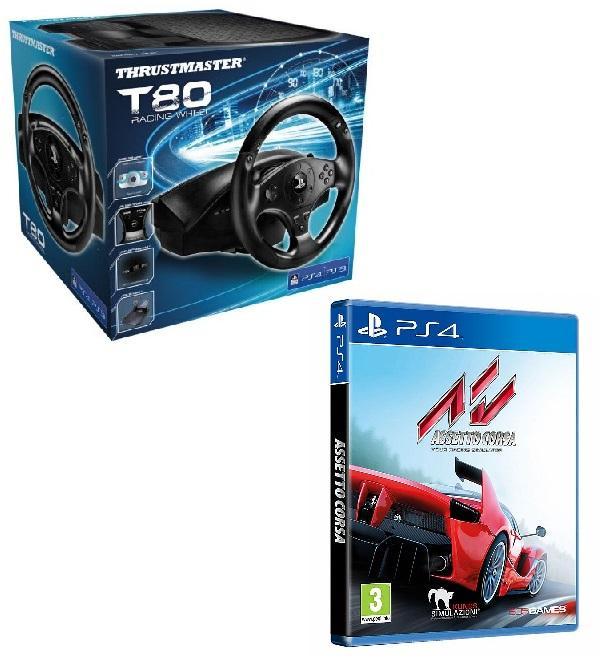 Volant avec Pédalier - Thrustmaster T80 pour PS4 / PS3 + F1 2016 ou Asseto Corsa sur PS4