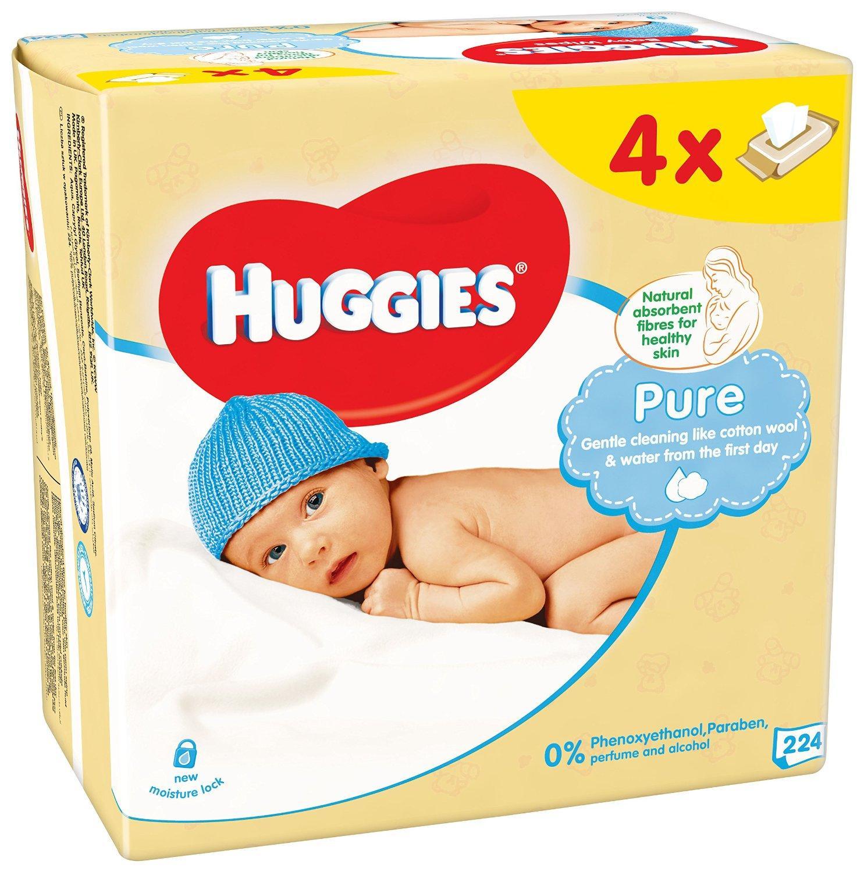 Lot de 2 packs de Lingettes Huggies Pure Quattro (4 Paquets de 56 Unités)