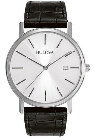 montre Bulova pour Homme - Quartz Analogique, Cadran Argent, Bracelet Cuir Noir