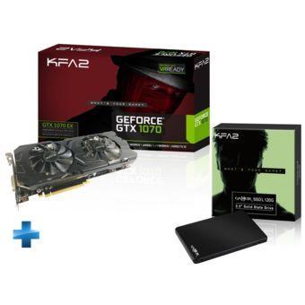 """Carte graphique KFA2 GeForce GTX 1070 EX 8 Go + SSD 120 Go + Pack """"Game Ready"""" pour le jeu Paragon offert"""