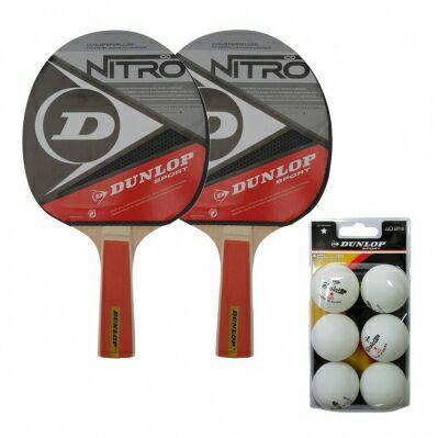 Lot de 2 raquettes de tennis de table Dunlop Nitro Power + 6 balles Club Champ