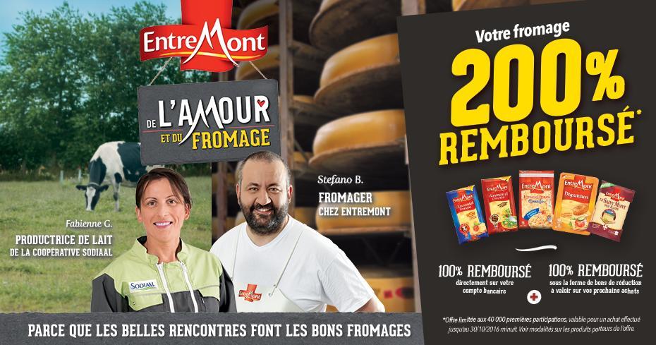 Fromage Entremont 100% remboursé par virement + 2 bons d'achat de 1.25€ (+ différence éventuelle par virement)