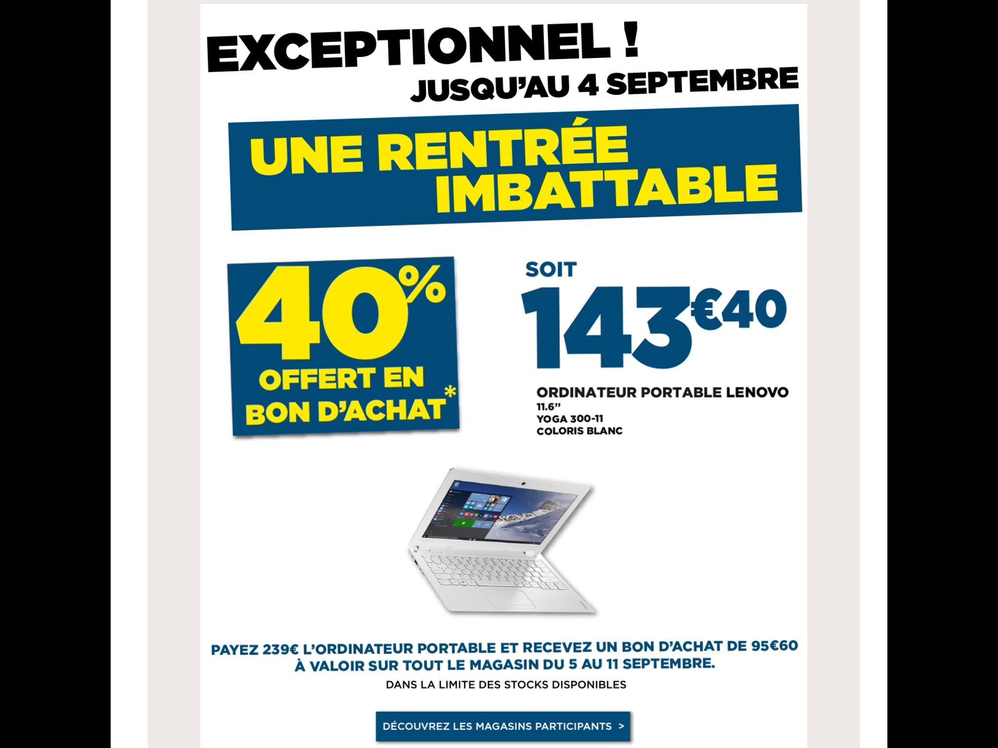 "PC Portable 11.6"" Lenovo Yoga 300-11 - HD, N3540, RAM 2Go, SSD 32Go, Windows 10 (Via 95,60€ en bon d'achat)"