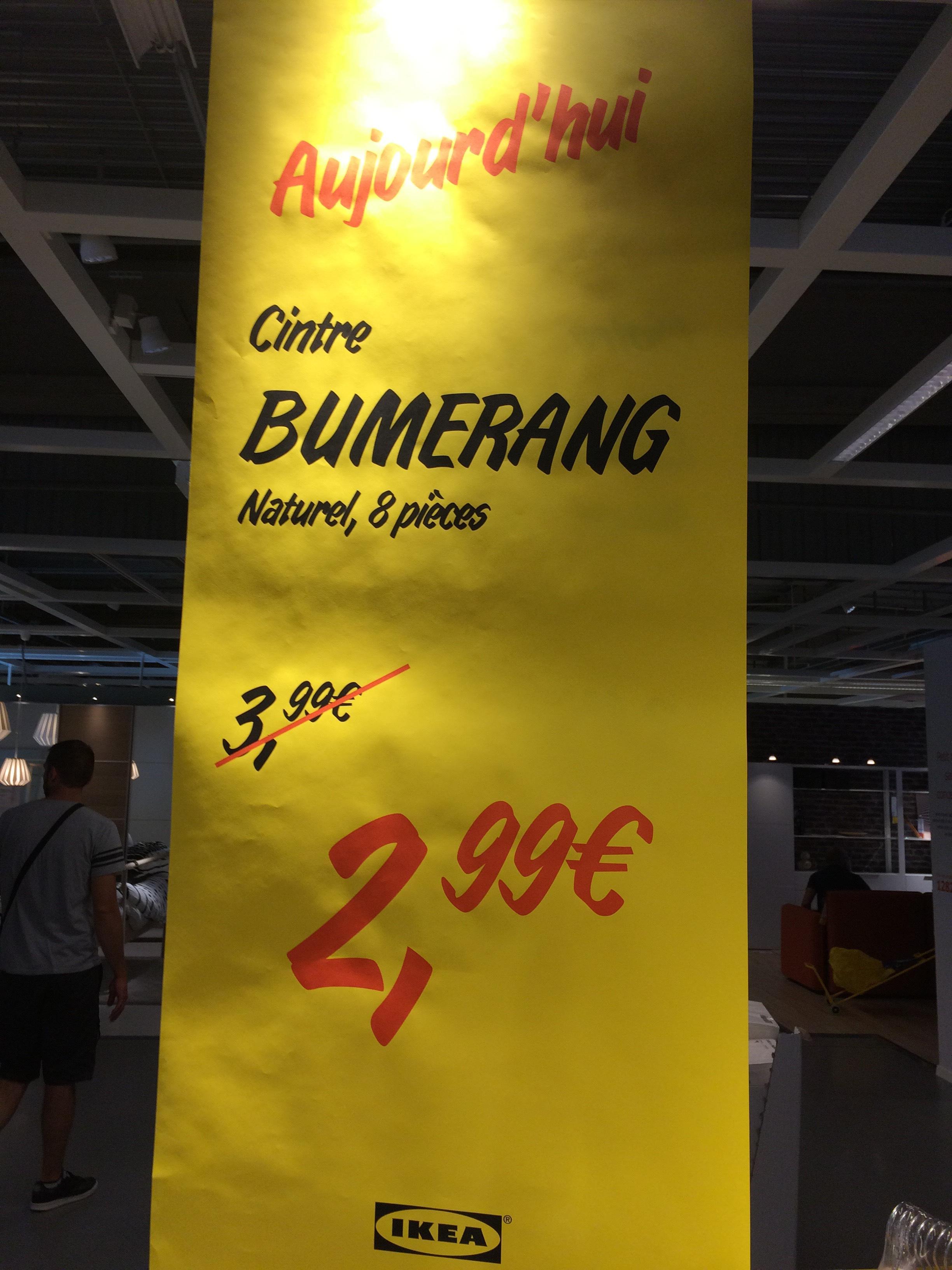 Cintre Bumerang naturel - 8 pièces