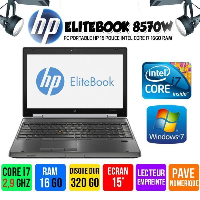 """PC Portable 15"""" HP Elitebook 8570W - Intel i7-3720QM, 16 Go de Ram, 320 Go, Occasion"""