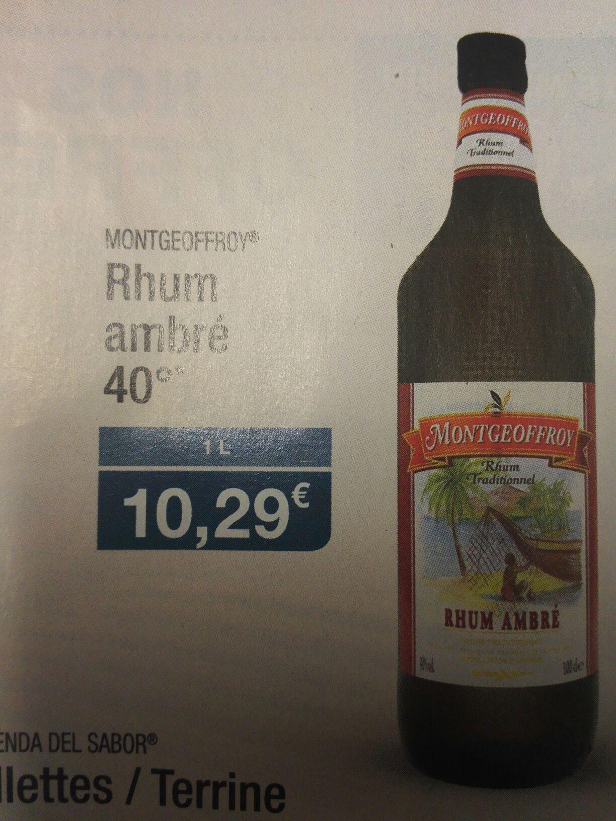Rhum Ambré Traditionnel 40° Montgeoffroy - 1L
