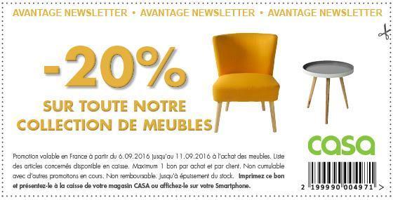 20% de réduction sur la catégorie Meubles