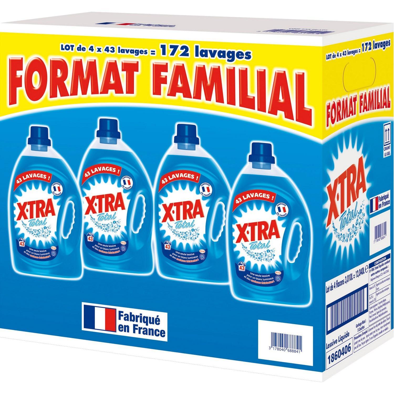 4 bidons de 3L de lessive Total X-Tra (via 17.15€ sur la carte)