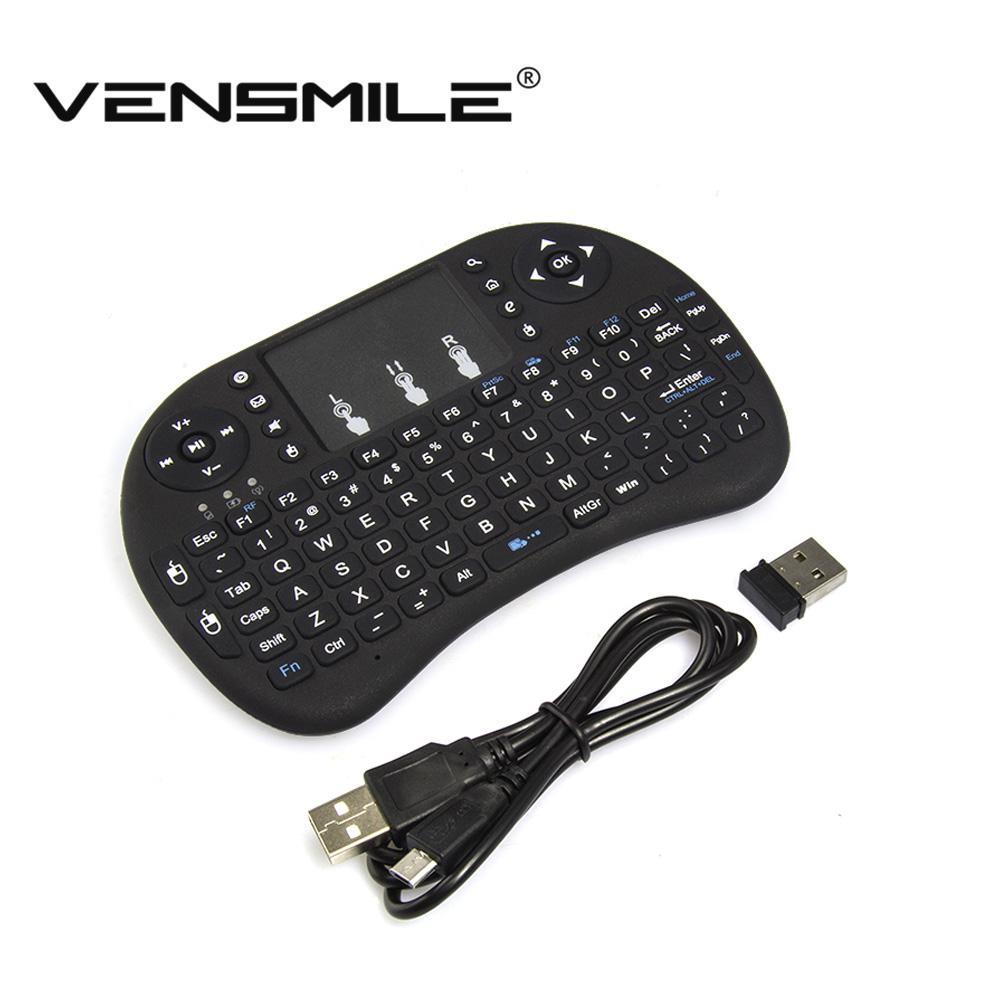 Clavier / Air Mouse / Touchpad Sans-fil Vensmile i8 pour Box Android et Mini-PC - Noir (Qwerty)