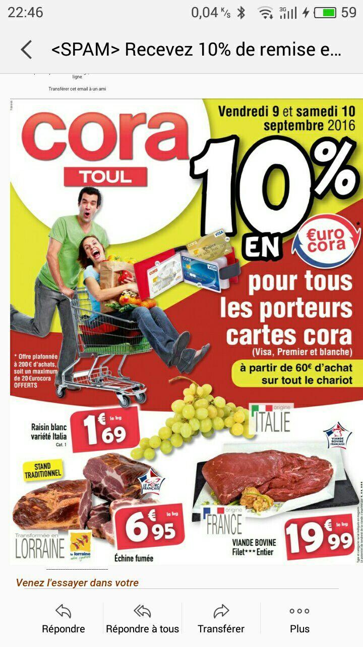 [Carte Cora] 10% offerts en €urocora dès 60€ d'achat sur tout le caddy (dans la limite de 20 €urocoras offerts)