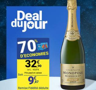 Champagne monopole millésime 2009
