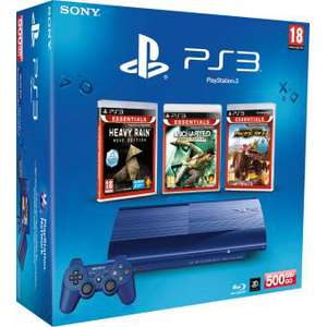 Console Sony PS3 Ultra Slim 500Go Bleue + 3 Jeux