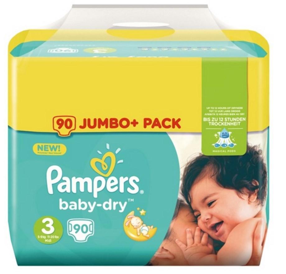 50% de réduction sur les couches Pampers Jumbo+ - Ex : 90 Couches Pampers Jumbo+ Taille 3 (via 12.95€ fidélité)