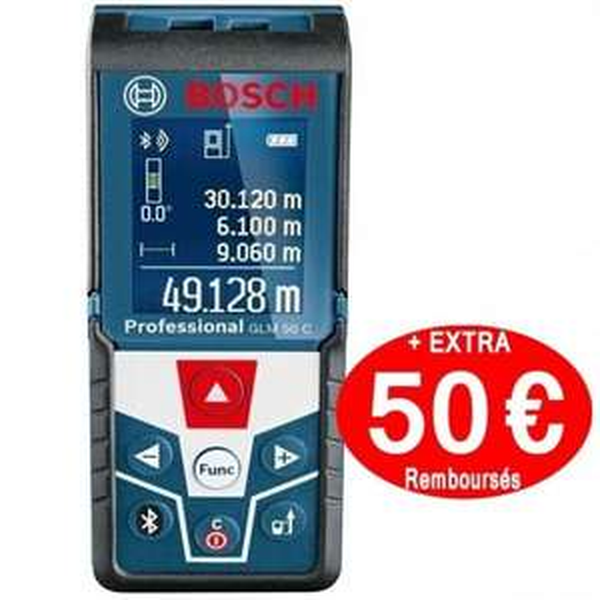 Télémètre laser Bosch GLM50 C Professionnal - 50m (via ODR de 50€)