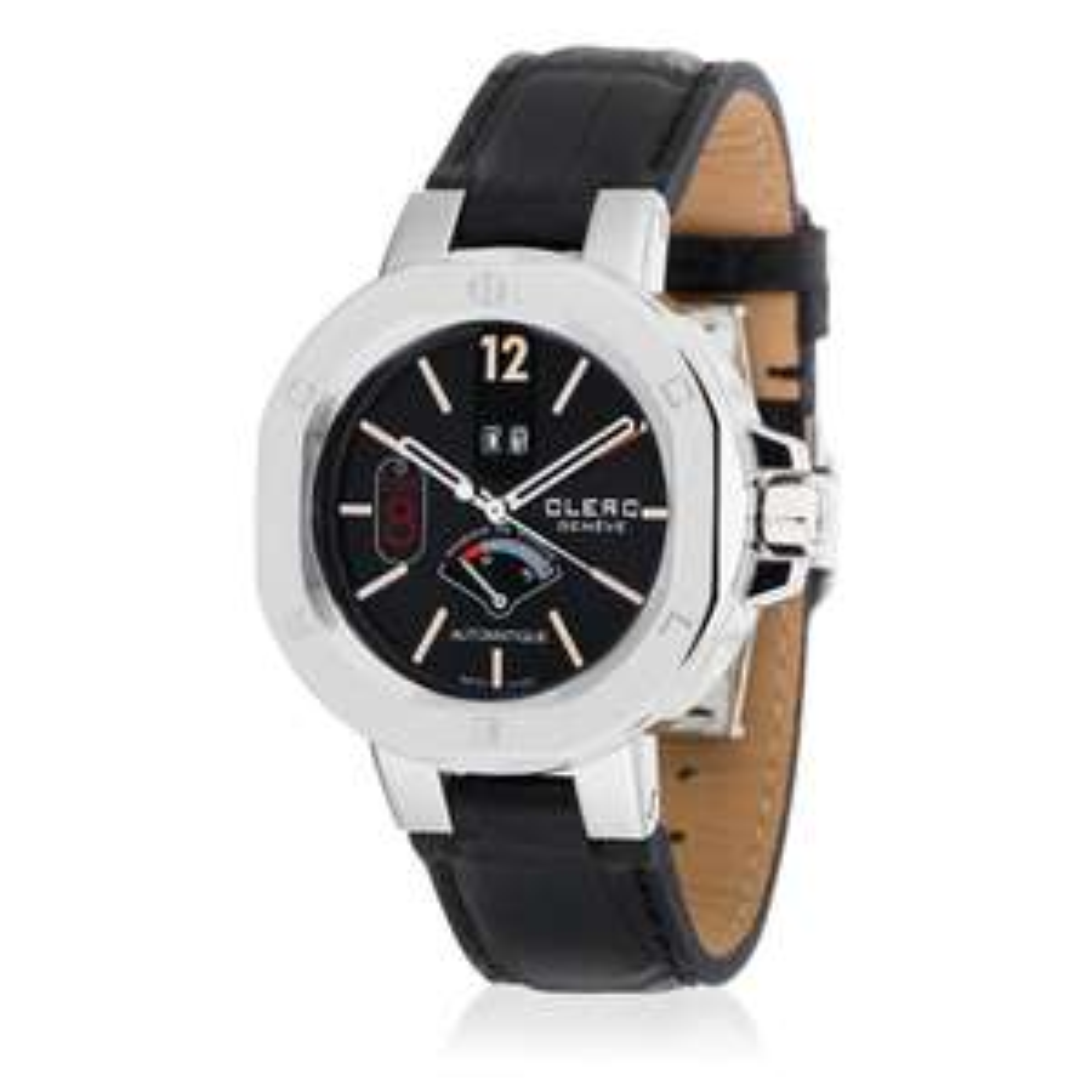 Selection de montres Clerc en promo - Ex : Montre automatique Icon 8 bracelet : cuir d'alligator, noir