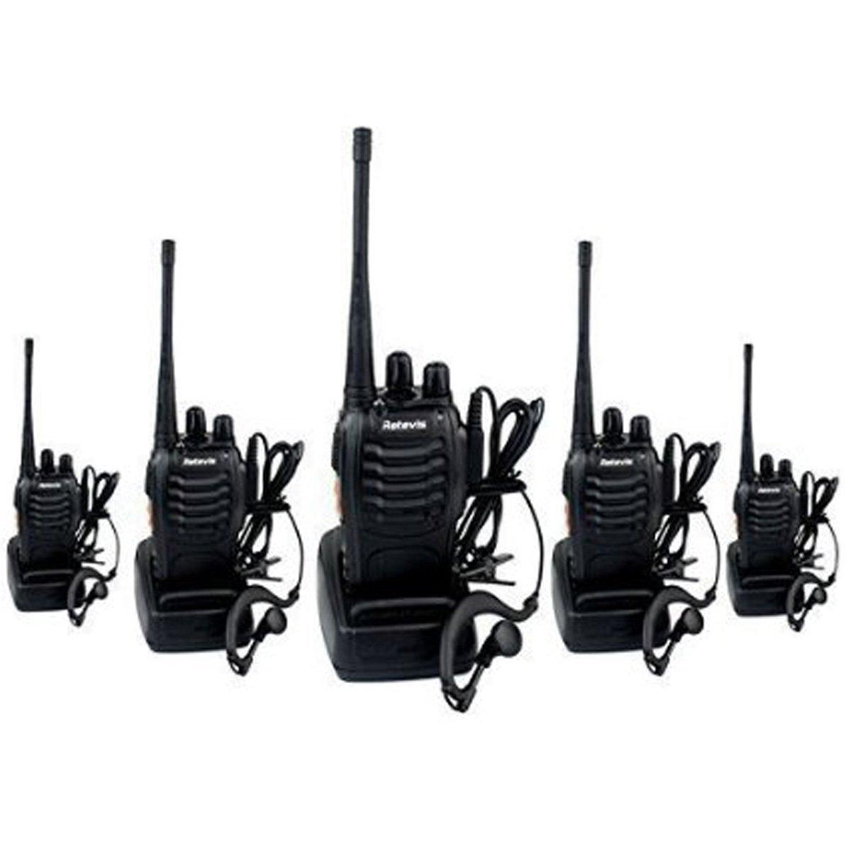 Lot de 5 talkie-walkies rechargeables Retevis H-777 (portée 5 km, noir)