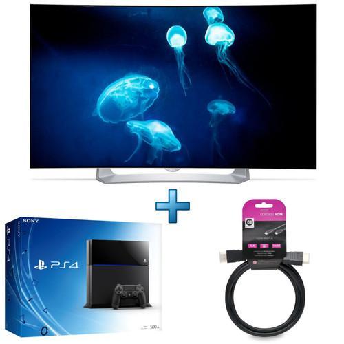 "Pack : Tv 55"" LG 55EG910 - FullHD, OLED, Incurvée - 900 Hz + Console Sony PlayStation 4 (500 Go) + Câble HDMI 1,5m"
