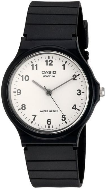 Montre Casio MQ-24-7BLL - Quartz Analogique, Cadran Blanc, Bracelet Noir