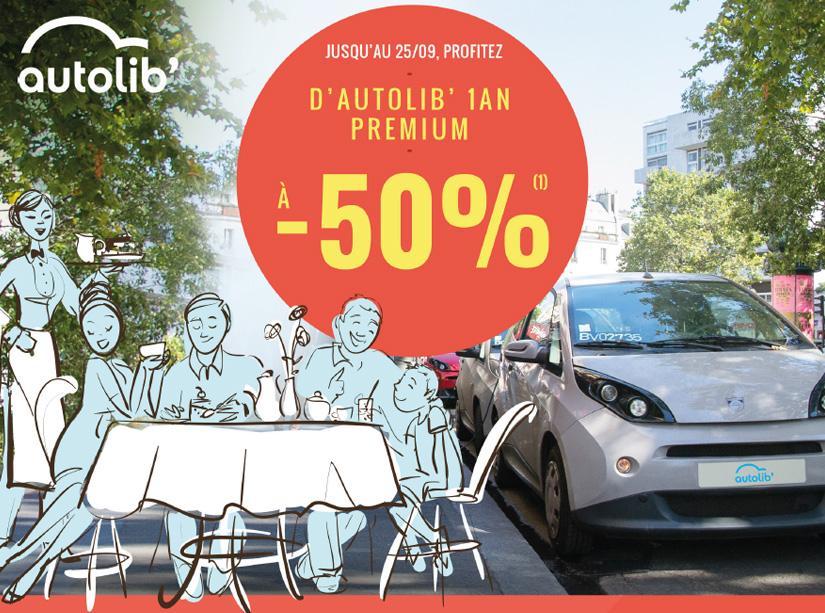 Abonnement Premium Autolib' 1 an + carte Restopolitan offerte