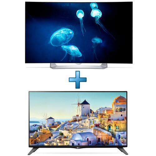 """TV 55"""" incurvée LG 55EG910V - full HD, OLED, 3D, smart TV + TV LED Ultra Slim 40"""" LG 40UH630V - UHD 4K, 1500 PQI, Smart TV (via ODR 400€)"""