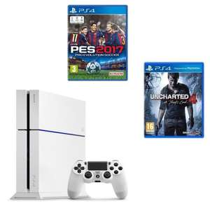 Console Sony PS4 500Go Blanche + PES 2017 + Uncharted 4 : A Thief's End