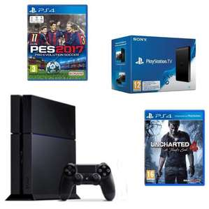 Pack Console Playstation 4 500Go (châssis 1216a, soit le châssis C) + PES 2017 + Uncharted 4 : A Thief's End + Playstation TV