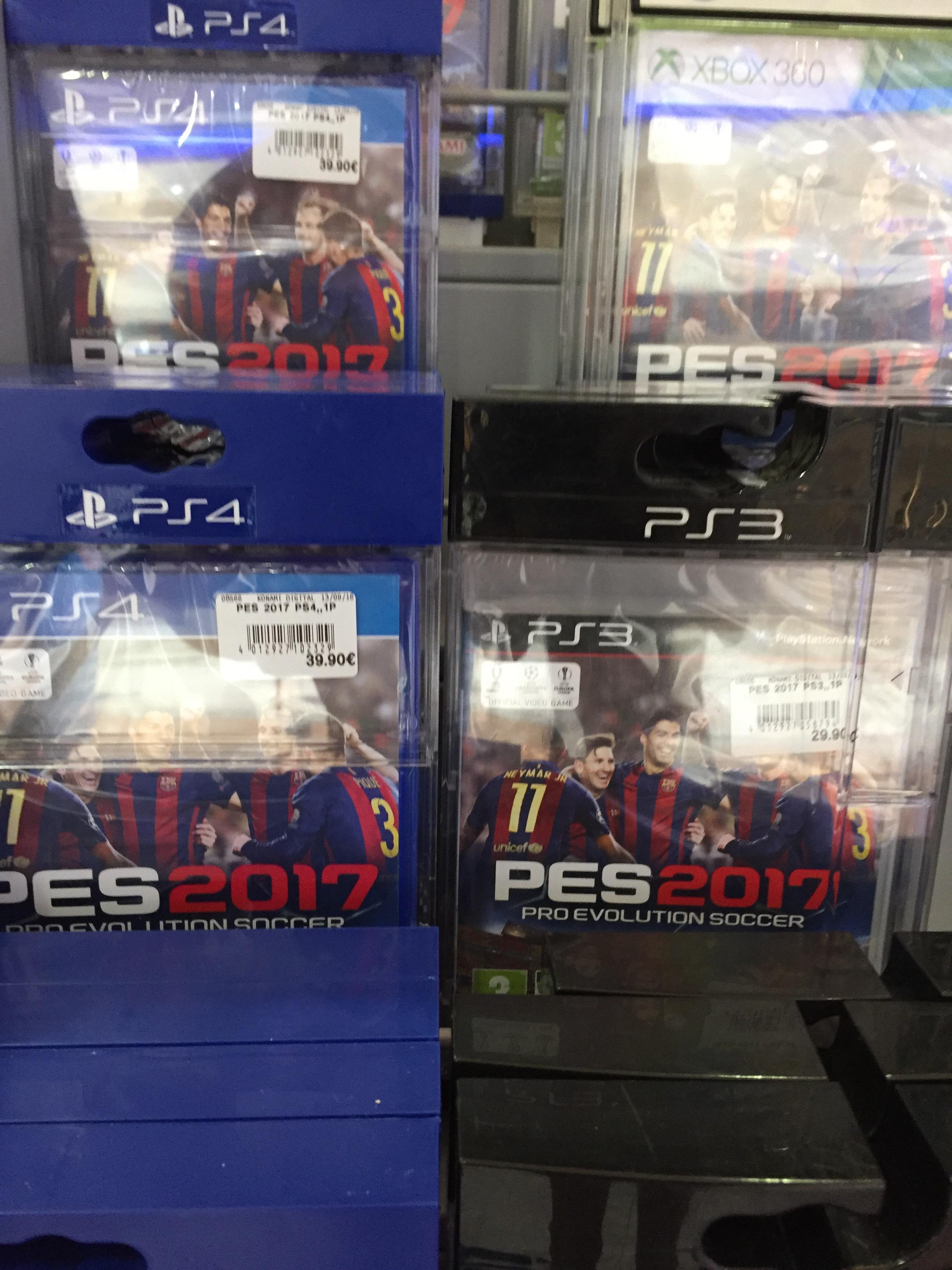 Pes 2017  sur PS3 pour 29.90€  et sur PS4