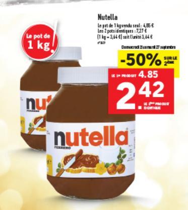 2 pots de pâte à tartiner Nutella (1Kg)