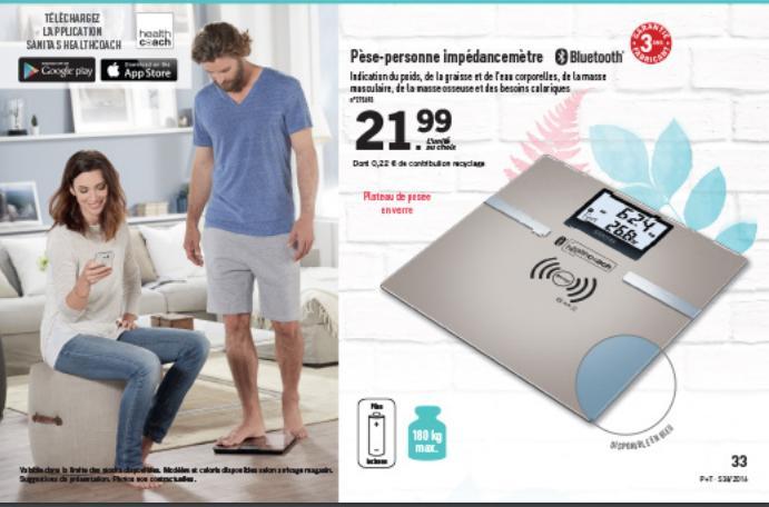 Pèse-personne avec impédance-mètre + appli via Bluetooth