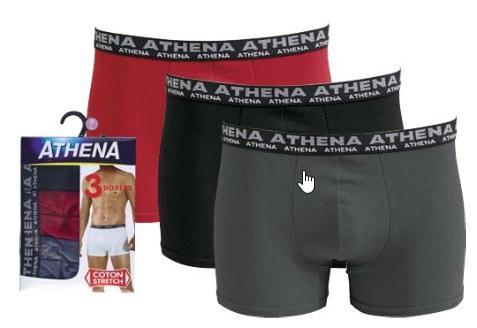 Lot de 3 Boxers Athena pour Hommes (Coloris mixtes) - Tailles 2 à 6