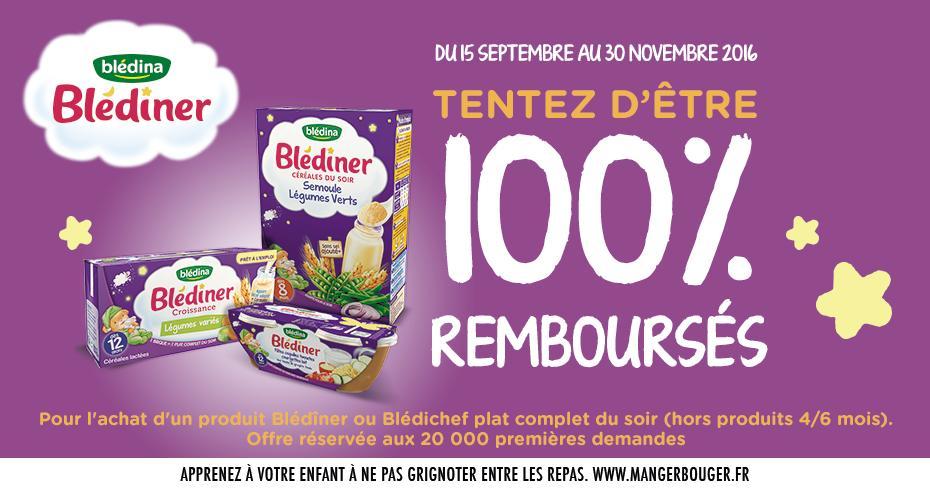 Un Produit des gammes Blédîner ou Blédichef 100% Remboursé (via Bledina)