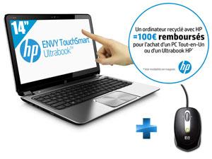 """Ultrabook HP Envy TouchSmart 4-1280ef 14"""" Tactile i5-3337U (via buyster + avec ODR 100€) + Souris HP"""