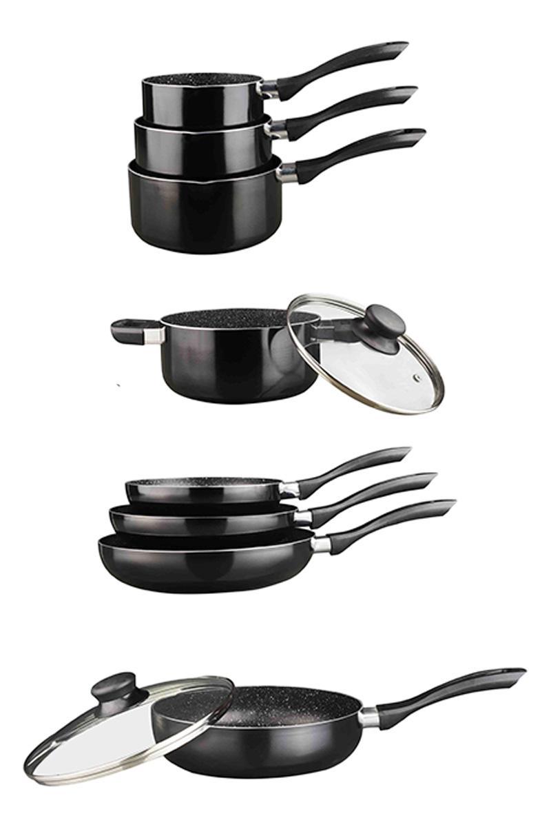Batterie de cuisine Arthur Martin 10 pièces - Effet pierre, Tous feux, Compatible four