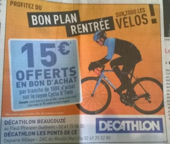 15€ offert en bon d'achat par tranche de 100€ d'achat au rayon Cycle B'Twin