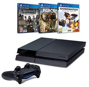Pack console Sony PS4 (500 Go, châssis C) + Assassin's Creed Syndicate + Far Cry Primal + Overwatch
