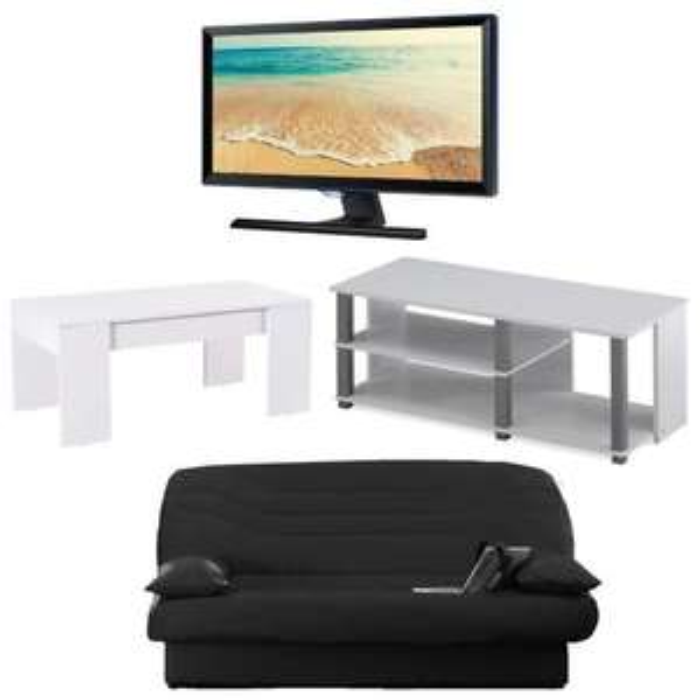 "Ensemble banquette clic-clac + meuble TV + table basse transformable + TV LED 22"" Samsung T22E390EW"