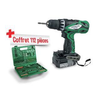 Perceuse-visseuse sans fil Hitachi DS14DFLT + Coffret 112 pièces