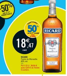 2 bouteilles de pastis ricard 1l avec en ticket e leclerc. Black Bedroom Furniture Sets. Home Design Ideas