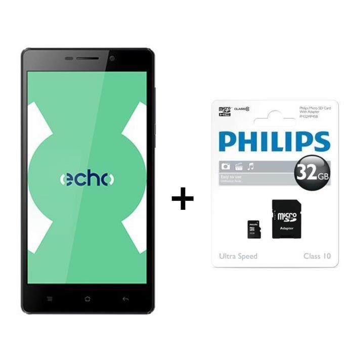 """Smartphone 5.5"""" Echo Note Noir + CarteMicroSD Philips 32Go (via ODR de 30€ et application)"""