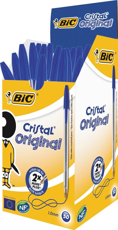 Bic Cristal - Lot de 50 Stylos à bille lot (pointe moyenne)