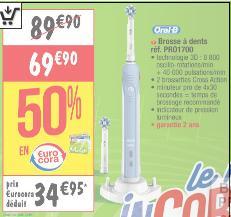 Brosse à dents électrique Oral B Pro 1700 (34.95€ sur la carte)