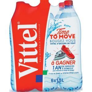 Lot de 4 packs de 6 bouteilles d'eau Vittel - 1.5 l (avec carte de fidélité)
