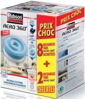 Lot de 10 recharges pour absorbeur d'humidité Rubson Aero 360°