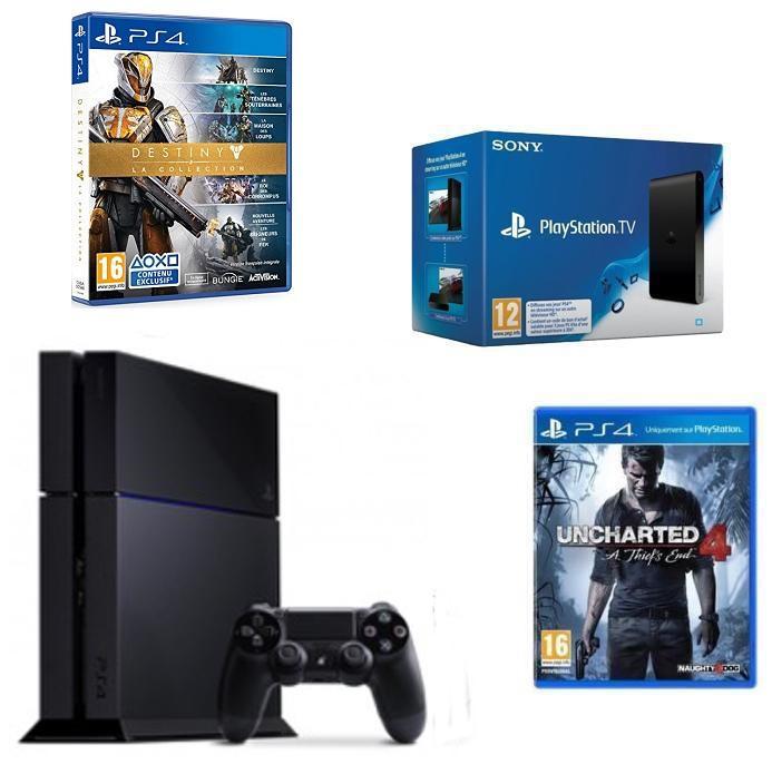Sélection de Packs PS4 en promo - Ex: 500 Go (Châssis C) + PS TV + Uncharted 4 : A Thief's End + Destiny La Collection