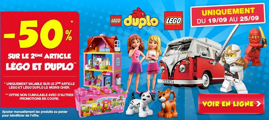 50%  de réduction sur le deuxième article lego, duplo ou playmobil acheté