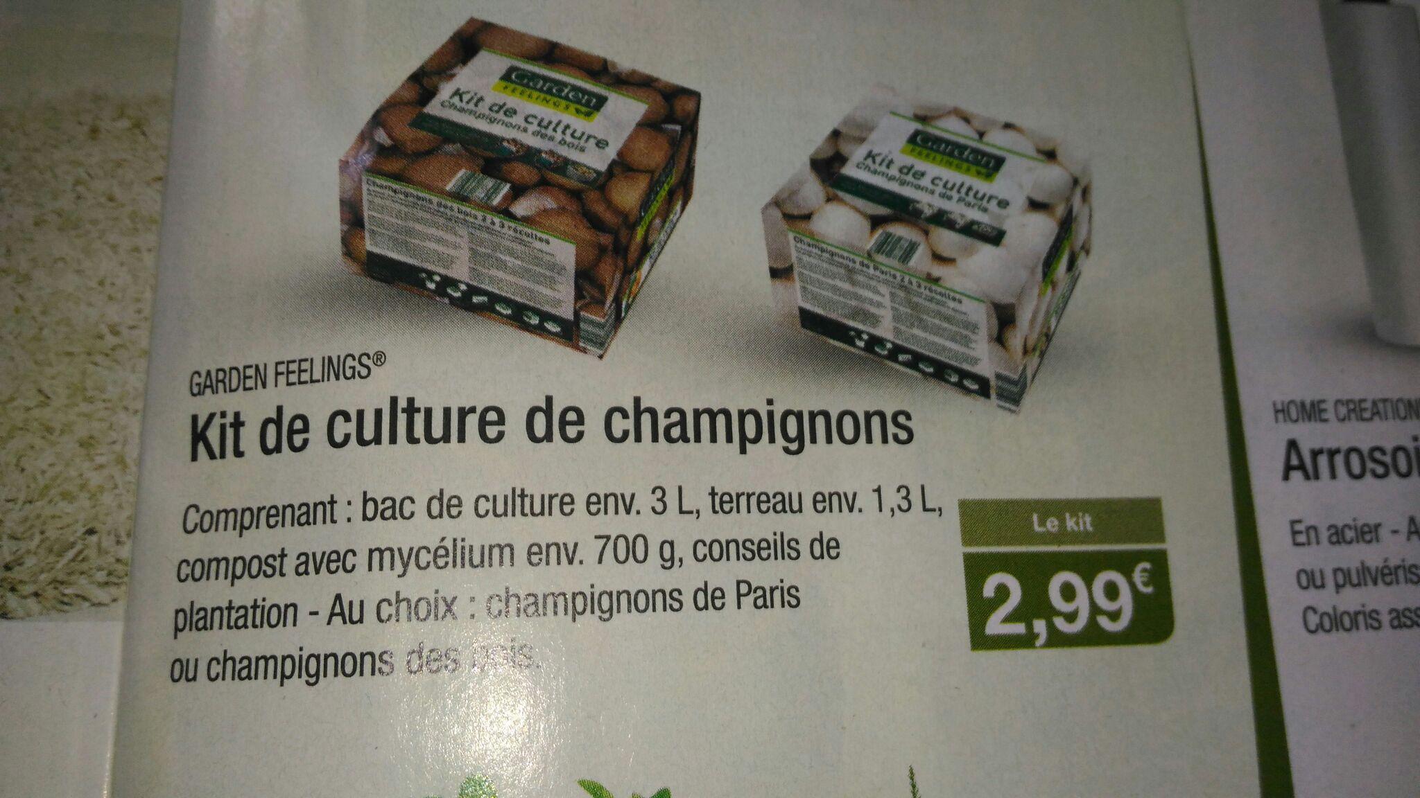 Kit de culture de champignons Garden Feelings (bac de culture + terreau + compost)