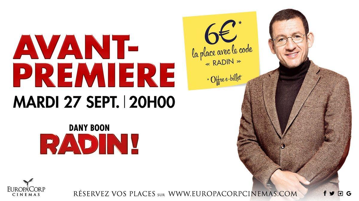 Avant-première du film Radin le mardi 27 Septembre