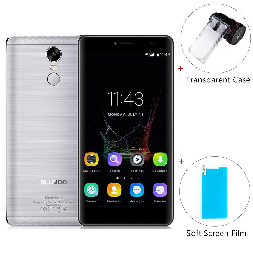 "Smartphone 6"" Bluboo Maya Max Gris - HD, 4G, Android 6.0, Octo core, RAM 3 Go, ROM 32 Go + Etui Transparent + Film Protecteur"