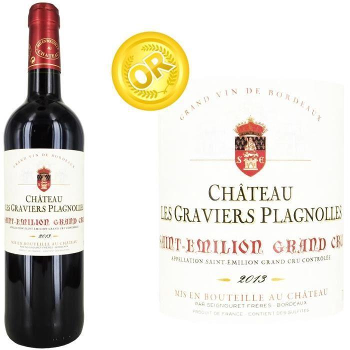 Carton de 6 bouteilles de Château Les Graviers Plagnolles Saint Emilion Grand Cru 2013