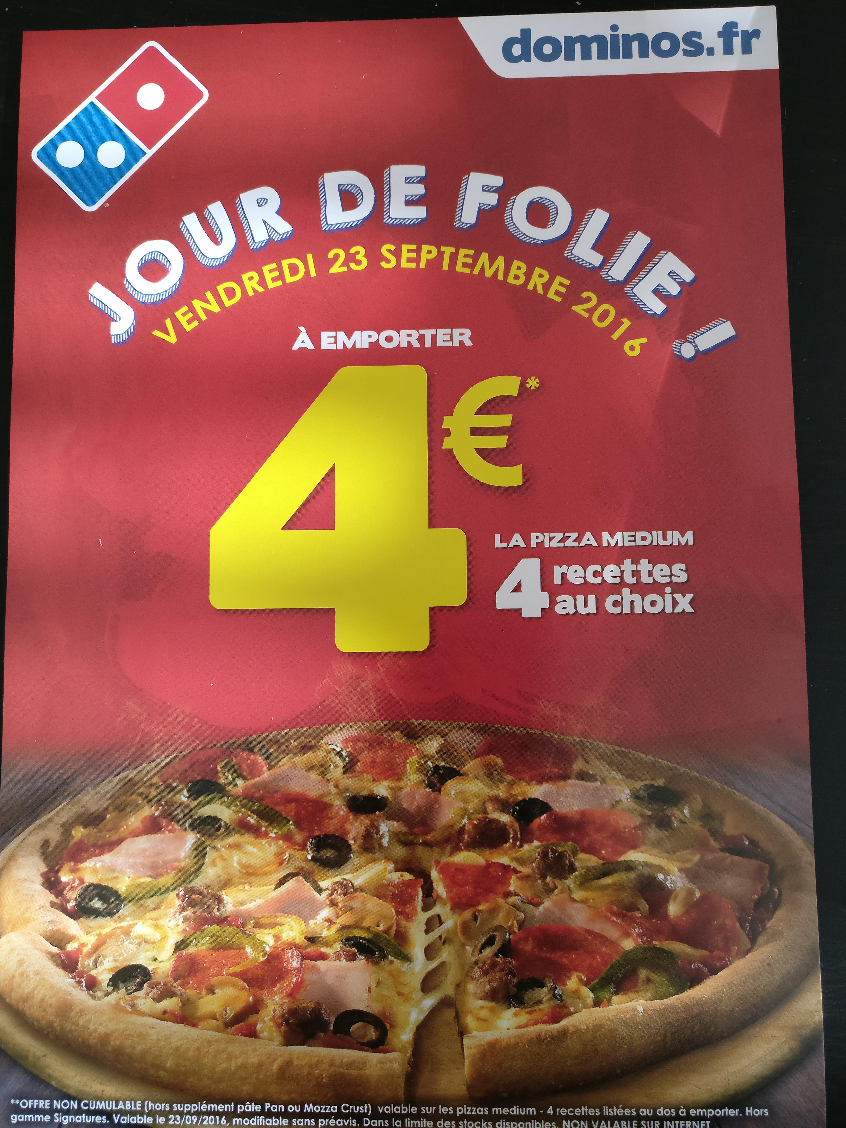 Pizza Medium sur une sélection de recettes (à emporter)